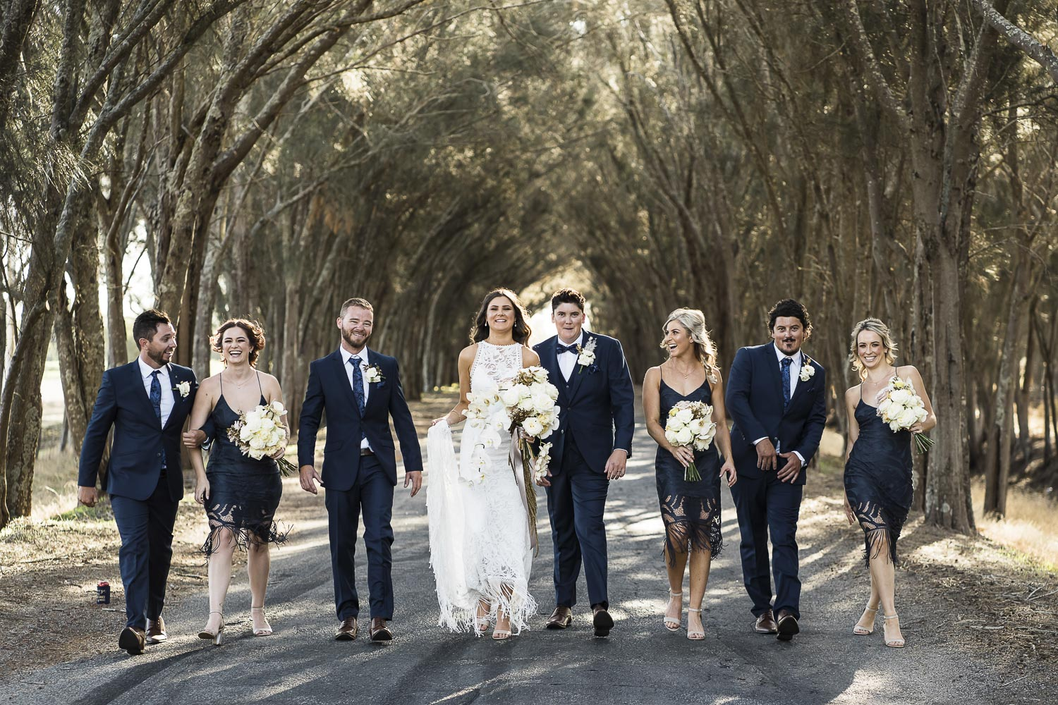 wedding photo of bridal party at Yoothamurra Homestead